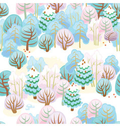 Forest in winter with snow vector image