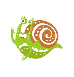 funny snail character raising hand cute green vector image vector image