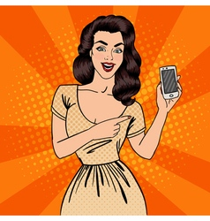 Girl with Smartphone Beautiful Woman Pop Art vector