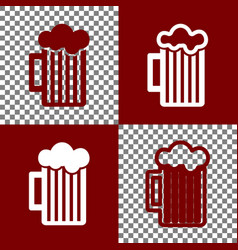 Glass of beer sign bordo and white icons vector