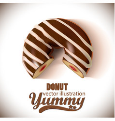 Glazed chocolate donut 3d realistic chocolate vector