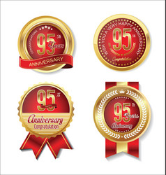 golden badge anniversary collection 95 years 2 vector image