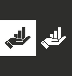 Growing graph icon on hand two-tone version vector
