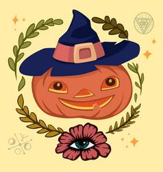 Halloween jack-o-lantern pumpkin with scary face vector