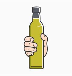 Hand hold olive oil male holding olive oil bottle vector