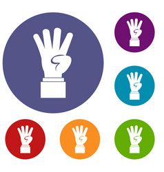 Hand showing number four icons set vector
