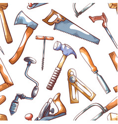Hand tools repairman seamless pattern on white vector