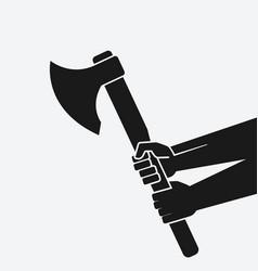 hands holding axe black silhouette on white vector image