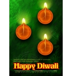 Happy Diwali background coloful watercolor diya vector image