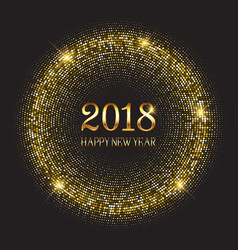 Happy new year background with glittery gold vector