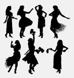 Hawaiian hula girl femae silhouette vector
