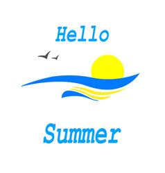 hello summersunset on the seasunrise vector image