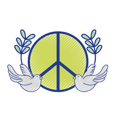 Hippie emblem with doves and branches design vector