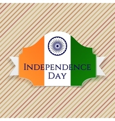 Indian Independence Day Label with Ribbon vector