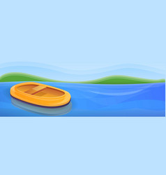 Inflatable boat on river concept banner cartoon vector