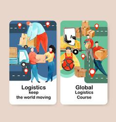 Instagram design template with logistics concept vector