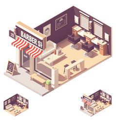 Isometric barbershop interior vector