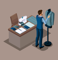 isometric tailor work in a sewing workshop fitti vector image