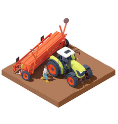 isometric tractor with seed drill vector image
