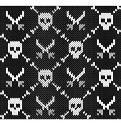 Knitted background with skulls vector