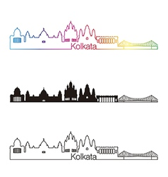 Kolkata skyline linear style with rainbow vector