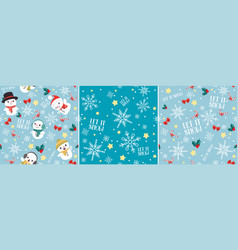 let it snow christmas seamless pattern set vector image