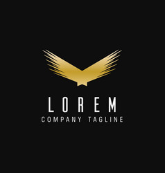 Luxury abstract wings logo technology design vector
