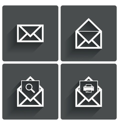 Mail icons Mail search symbol Print Letters vector image