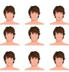 Man head emotions portraits set vector
