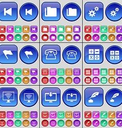 Media skip Folder Gear Flag Retro phone Calculator vector image
