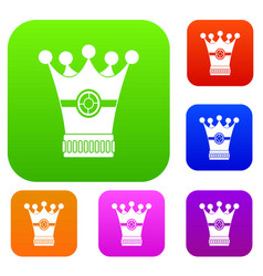 medieval crown set color collection vector image