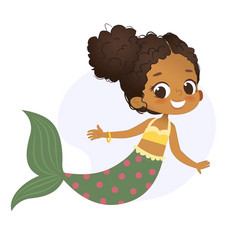 Mermaid afro character mythical girl little nymph vector