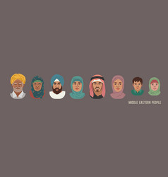 middle eastern people head avatar set different vector image