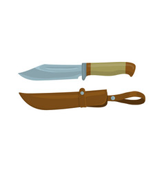 Military knife with leather sheath vector