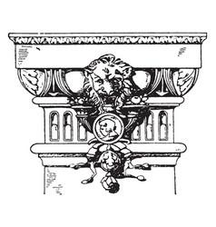 modern doric pilaster capital pilaster vintage vector image