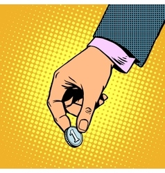 Monetary contribution The hand holds a coin vector
