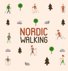 Nordic walking sport people leisure sport time vector