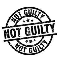 Not guilty round grunge black stamp vector