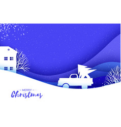 origami paper cut car with christmas tree on blue vector image
