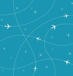 Planes with trajectories and stars on the blue sky vector image