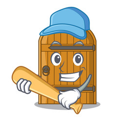 Playing baseball cartoon wooden door massive vector