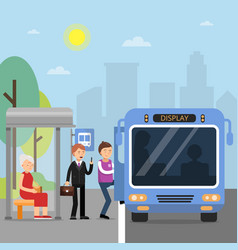 Public autobus station with passengers wich sit in vector