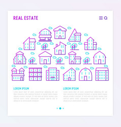 real estate concept with thin line houses and tree vector image