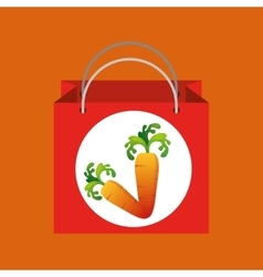 Red bag buying harvest carrot vegetable vector