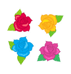 Red blue pink purple rose with green leaves vector