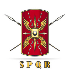 Roman empire shield and crossed spears vector