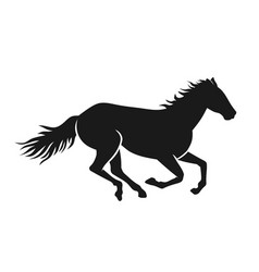 running horses silhouette vector image