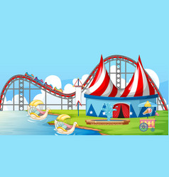 Scene with rides and big tent in circus vector