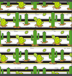 Seamless pattern cacti in the desert vector