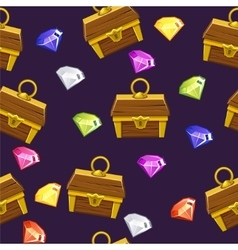 Seamless pattern gemstones and treasure chest vector image